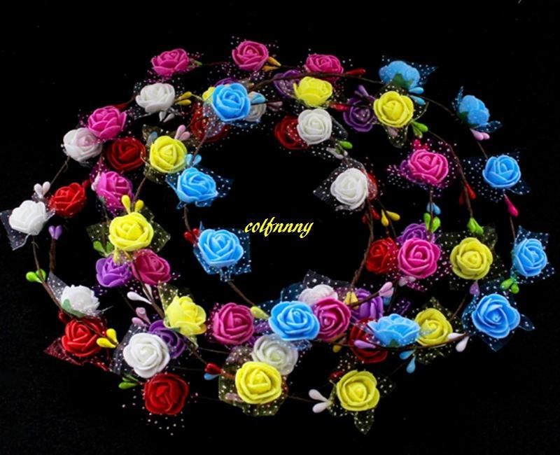 10pcs / lot 10 fiore con poca carta prugna fiore flower feste fiori corona donne signora ragazze fascia floreali ghirlande floreali