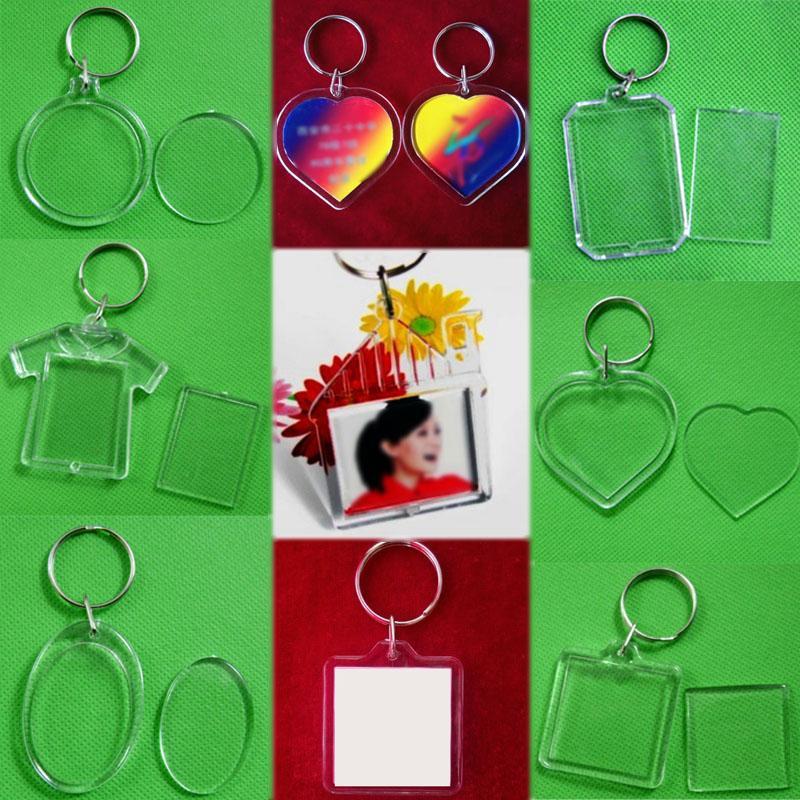 Продажа унисекс сердце женщины мужчины брелок круглый акриловые вставить фото брелок пустой 1шт DIY прозрачный прямоугольник рамка для картин