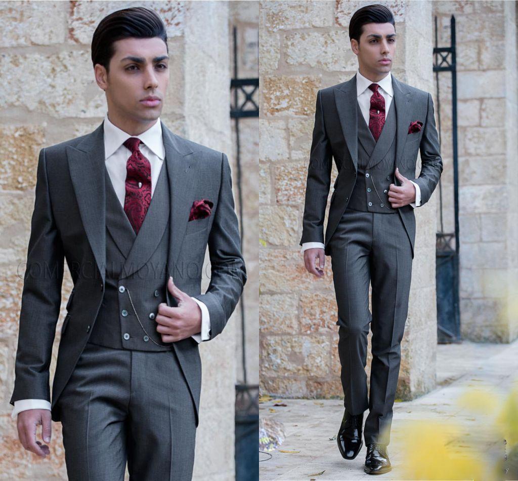 Mens Wedding Attire.Fashion Dark Grey Tailcoat Mens Wedding Tuxedos Notch Lapel Center Vent Groom Tuxedos Men Dinner Prom Suit Clothesjacket Pants Vest Men Wedding Attire