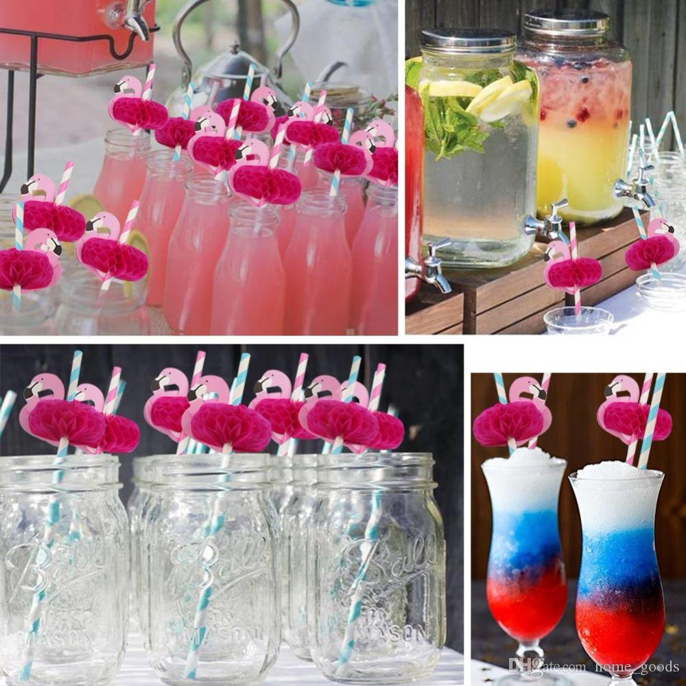 Flamingo Stripe Paper Straws Disposable Drinking Straws Birthday Beach get together Party Supplies Fashion Wedding Decoration Accessories