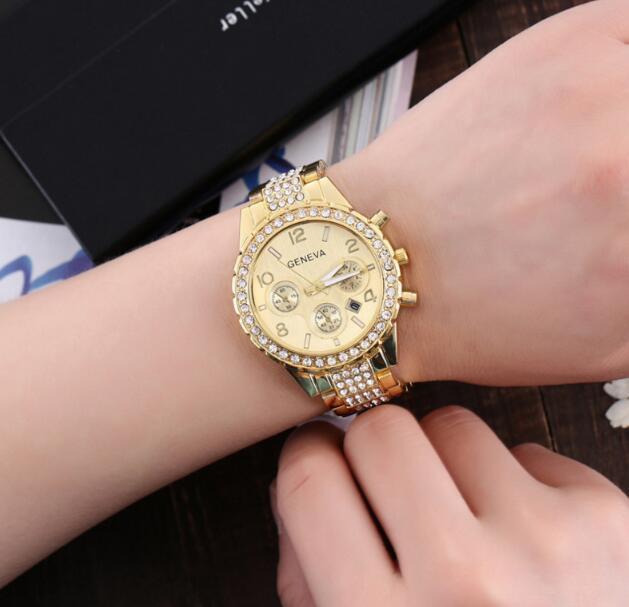 Золото серебристый розовое золото роскошный Кристалл Женева 3 глаза календарь стальной полосы наручные часы высокого класса моды женщина кварцевые наручные часы