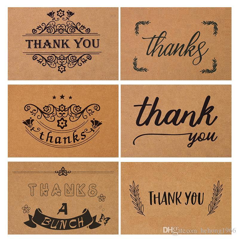 الرجعية ورق كرافت شكرا بطاقة قابلة للطي إكليل تصميم طباعة العرفان الكتابة اليدوية بطاقات المعايدة الزفاف حفل عيد ميلاد محل زهور 0 7dn
