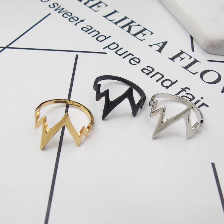 European and American new electrocardiogram ring extremely simple lightning alloy ring factory wholesale