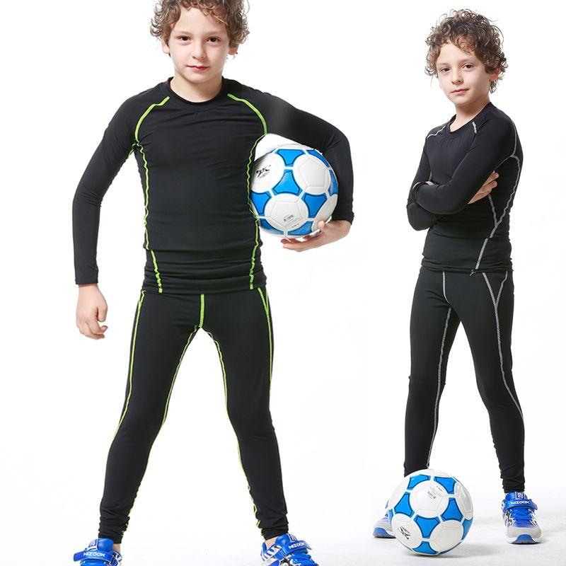 أطفال تشغيل مجموعات ضغط قاعدة طبقة الرياضية كرة القدم كرة السلة السراويل طويلة الأكمام قمصان الجوارب طماق الرياضة اللياقة البدنية