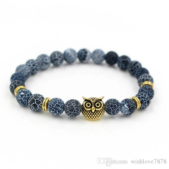 Hot Selling Men's Bracelets Creative Silver & Gold Trendy Fashion Jewelry Vintage Owl Head Charm Elastic Yog Bead Bracelet