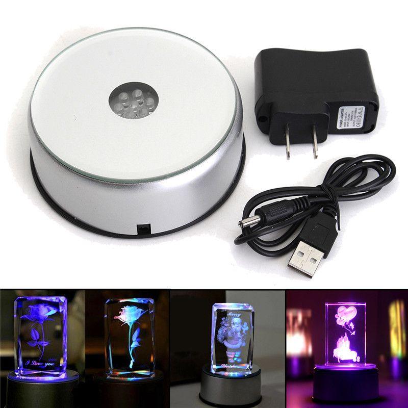 3D Laser Crystal Display Crafts Lamp Base Stand Unique Rotating 7 LED Night Light With Adapter 110V-220V