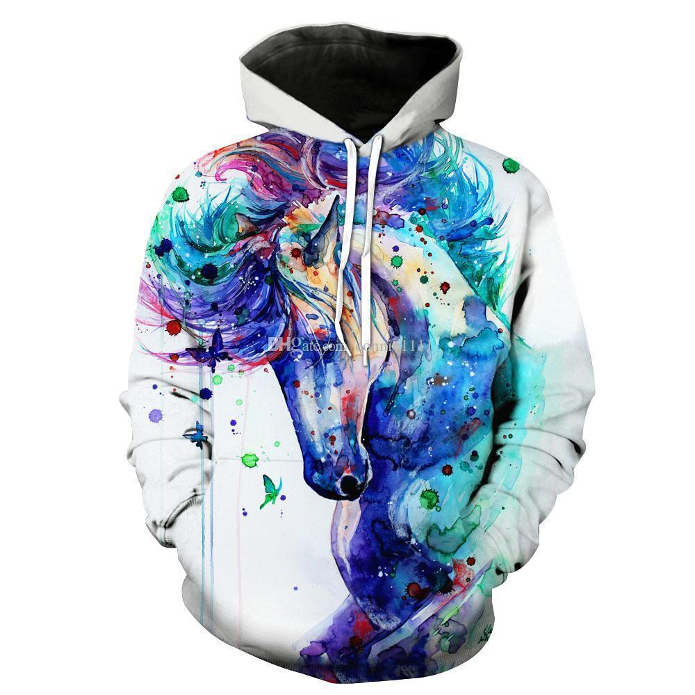 3D sudaderas con capucha marca invierno mujeres sudadera caballo 3d impreso sudadera con capucha de dibujos animados jerseys de tinta colorida parejas sudaderas S-5XL