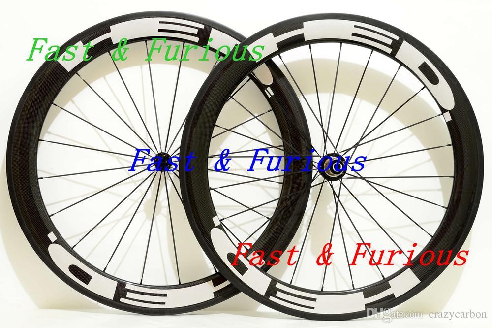 Venta al por mayor Las mejores ruedas de bicicleta de carretera que compiten con HED 38 MM Forma de U Ruedas de fibra de carbono llenas Clincher / Bicicleta de carretera tubular Ruedas de carbono chinas