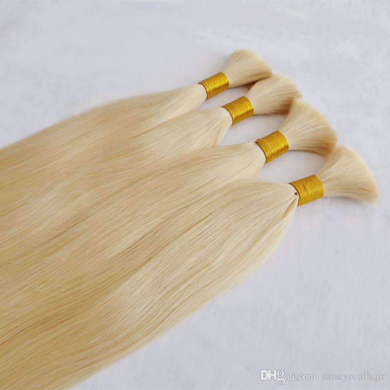 Üst Sınıf Ipek Düz Dalga İnsan Saç Paketler 300 Grams Lot Perulu Bakire Sarışın İnsan Saç Toplu hiçbir atkı Sarışın renk 613 Sarışın Saç