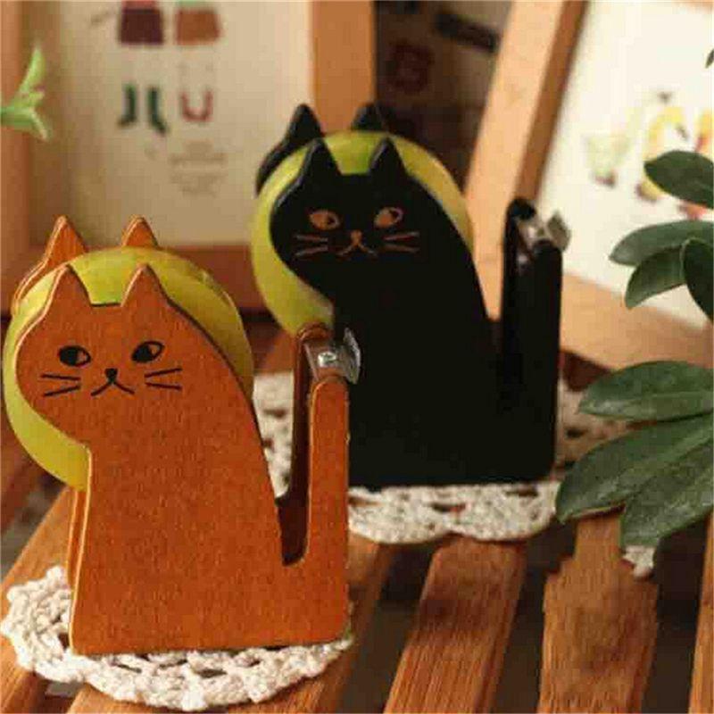 Cute cat wooden tape Dispenser Tape holder cutter Office & School Supplies High Quality