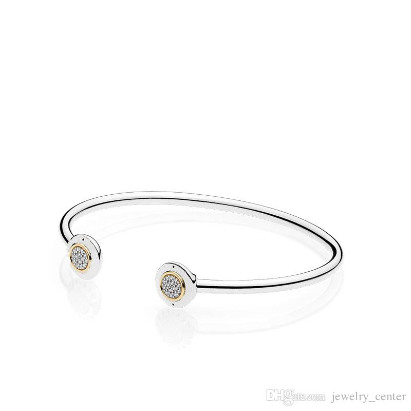 Authentic 925 Sterling Silver Cuff 18K Gold Bangle for Women Brand Logo fit Pandora Charm Beads Bracelet DIY Jewelry
