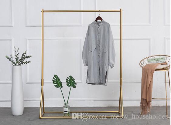 Золотая одежда для стойки железа на пола вешалка детская ткань магазин одежды дисплей стойки женской одежды магазин одежды вешалки пола вешалка