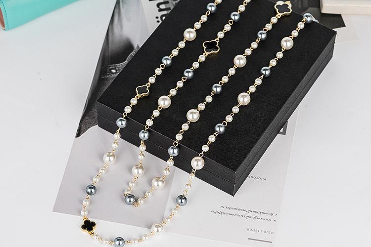 collares marca de moda de diseño de perlas de imitación de alta calidad de las mujeres a largo collar de perlas de doble capa