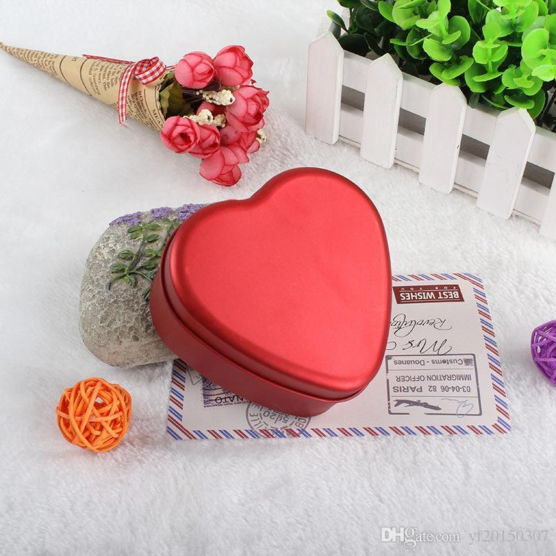 Caja de dulces en forma de corazón Cumpleaños romántico de la boda Favor de la Navidad Metal Estaño Dulces Cajas de joyería Abrigo de regalo