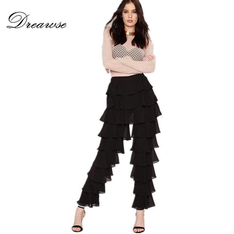 Dreawse Rahat Gevşek Siyah Eğilim Kişilik Orta Bel Katmanlı Fırfır Ince Vintage Zarif Uzun Parlama Pantolon Kule Pantolon D9875