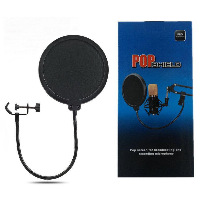 Alta Qualidade Mic Acessórios Metal Pop Filter Shield Duplo Camada De Windscreen Popfilter com Microfone Para Estúdio Falando Gravação