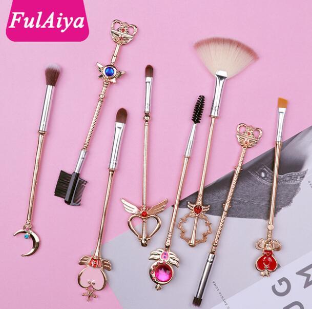 Arrival Sailor Moon 8pcs/set Cosmetic Brush Makeup Brushes Set Tools kit Eye Liner Shader Natural-Synthetic Pink Hair Free Shipping