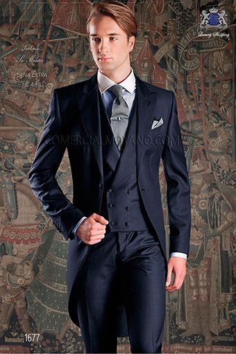 Nach Maß Groomsmen Spitze Revers Bräutigam Smoking Navy Blue Morning Stil Männer Anzüge Hochzeit / Prom Bester Mann Blazer (Jacket + Vest + Pants + Tie) O411