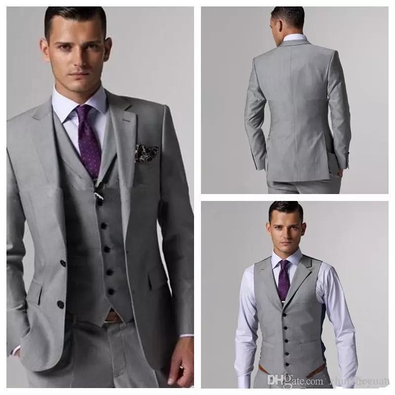 Custom Made Light Grey Cheap Groom Tuxedos Slim Fit Slit Side For Groomsmen Mens Wedding Prom Suits (Jacket+Pants+Vest)