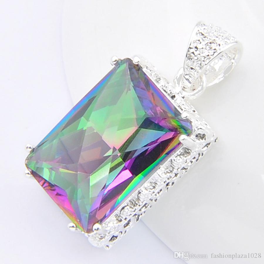 LuckyShine 10 Pz Quadrato Vintage Mystic Rainbow Topaz Gems 925 sterling argento placcato gioielli da sposa per le donne pendenti per collane