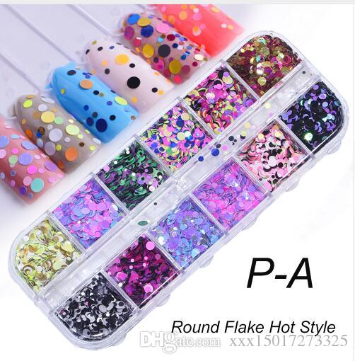 Full Beauty 12 couleurs Nail Glitter Paillettes Mixte Miroir / Meramid / Sucre Rond DIY Flake Nail Art Décorations CH067