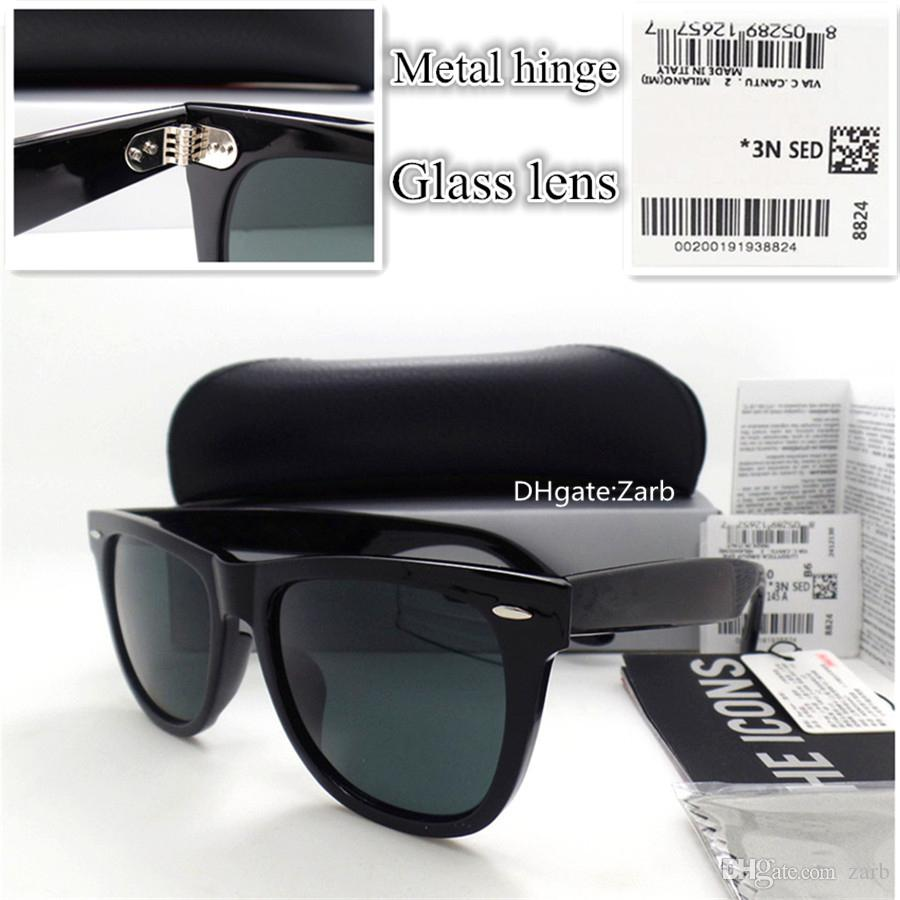 Hot G15 Glass Lens Men Women Sunglasses UV400 Plank Frame Hinge Beach Party 52/54 Unisex Vintage Eyeglass Oculos With Box Case