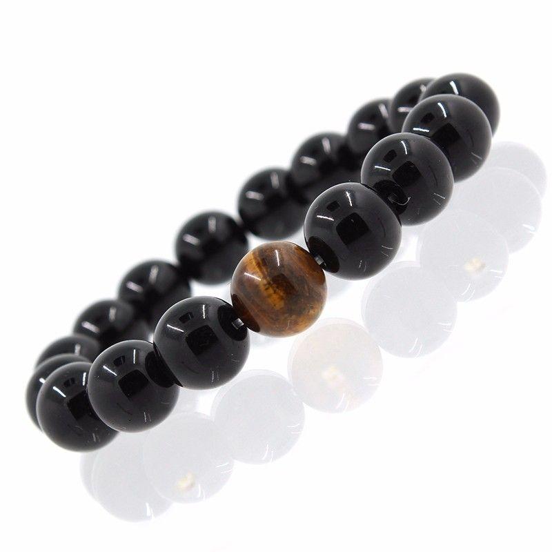 2017 Wholesale Alloy Metal Barbell & Black Natural Black Onyx Stone Beads Fashion Bracelets Men Women Stretch Gift Yoga Bracelet