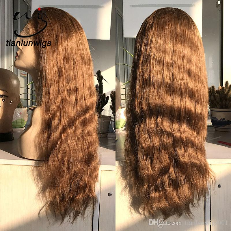 human hair 150% density full lace wigs with baby hair, light brown human hair lace wigs, #18 color virgin brazilian straight hair