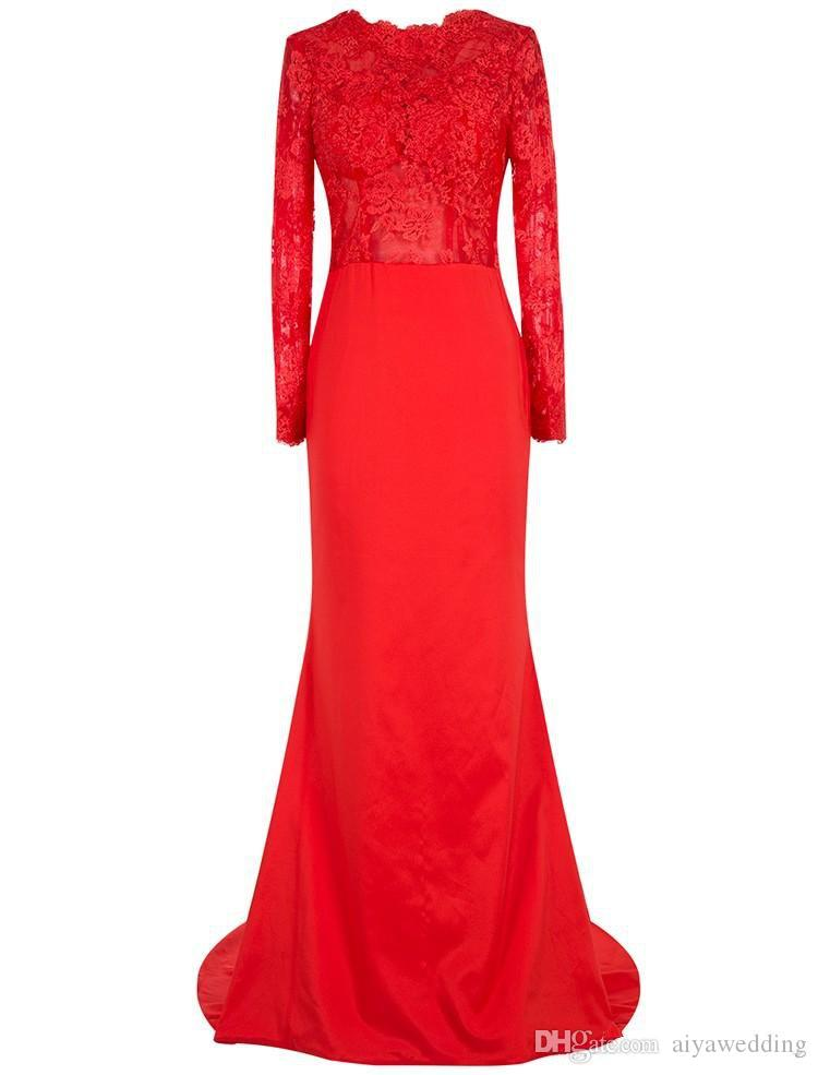 New Red Sheath Long Sleeve Heavy Embroidered Prom Dresses with Sweep Train 2019 Long Evening Party Gowns Free Shipping