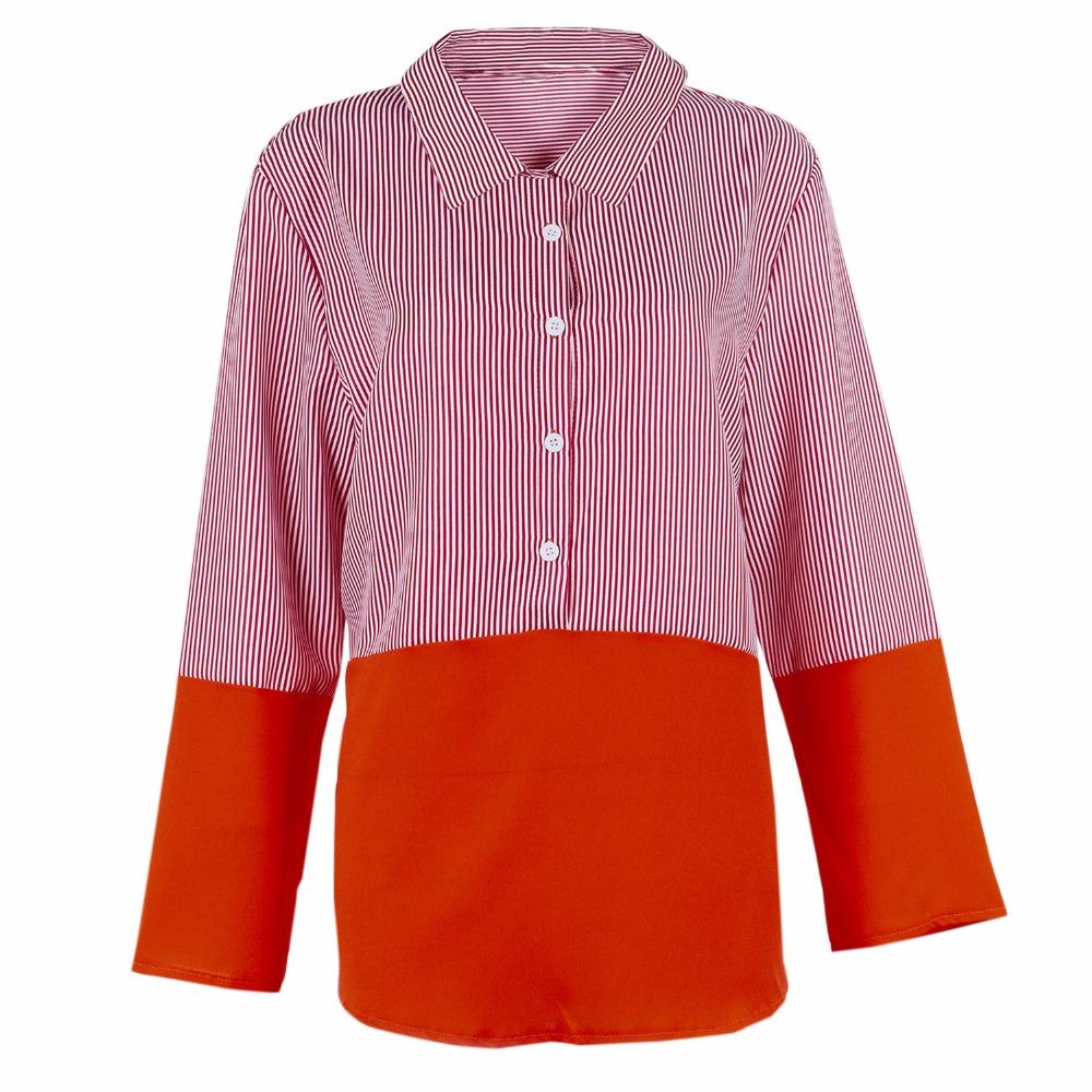 Women's Blouses & Shirts Women Black Red Striped Shirt Turn Down Collar Long Sleeve Blouse Ladies 2021 Spring Casual Office Autumn Patchwork