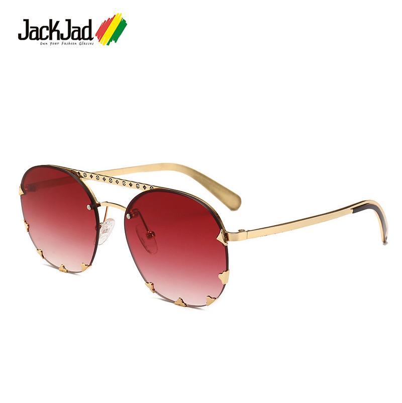 Sun Lunettes Décoration De Decoration Brand Rivets Sunglasses Femmes Vintage Jackjad Fashion 2402 rond Xkoao