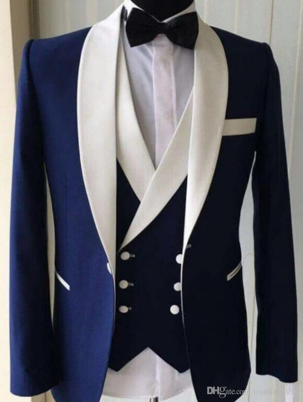 S-5XL ! Men Personality Fashion Navy Blue Suit Sets Wedding Dress Suit Vest Pant 3-piece Men's Casual Slim sets groom CUSTOMIZE !