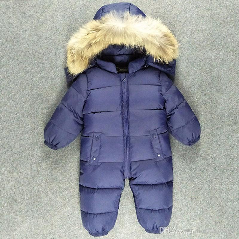 الوليد الطفل معطف snowsuit الفراء الطبيعي مقنع الرضع الفتيان الفتيات الشتاء الثلوج ارتداء 90٪ بطة بيضاء أسفل الستر أبلى حللا