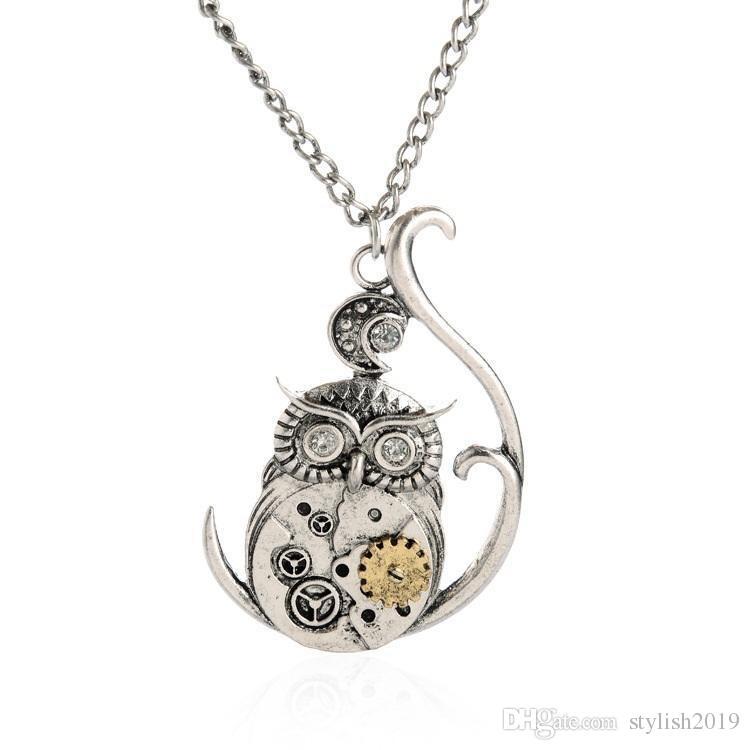 Vintage Steampunk Necklace Antique Owl Clock Pendant Mechanical Gear Chain Necklace Punk Jewelry For Men Women b055