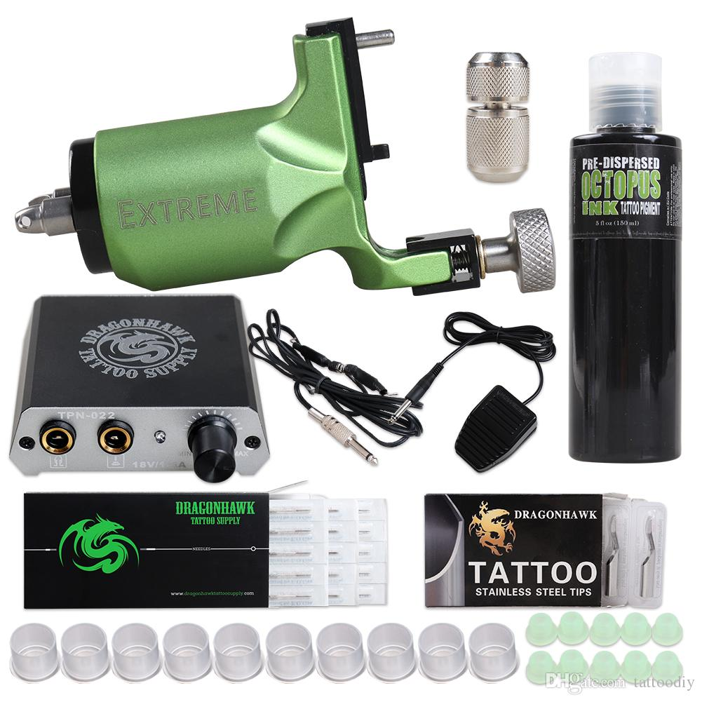 Complete Tattoo Kit Extreme Rotary Machine Power Supply OCTOPUS BLACK Ink Needle D3014