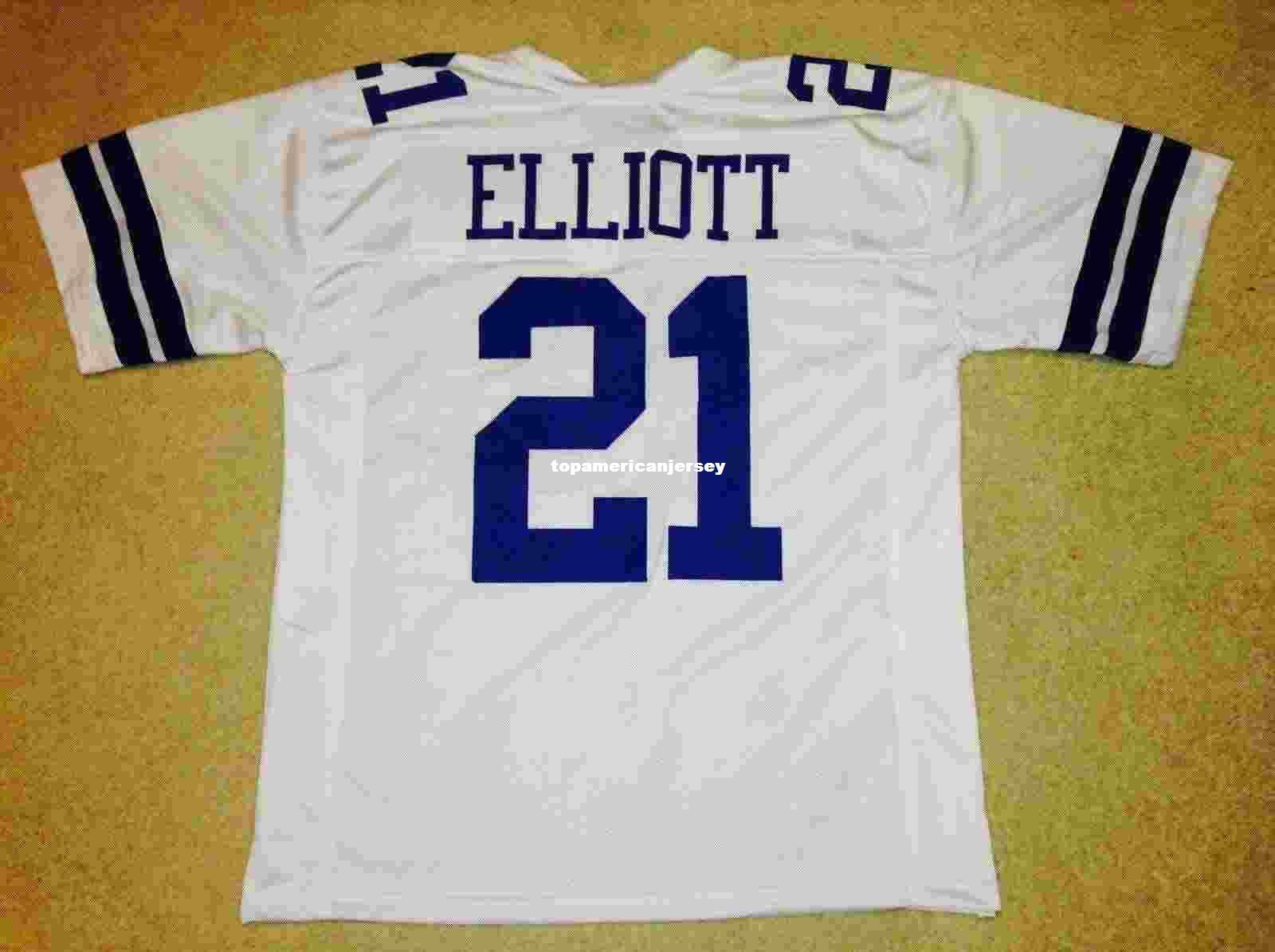 Pas cher Retro personnalisé Cousu Cousu # 21 Ezekiel Elliott Blanc Maillot MITCHELL NESS Haut S-5XL, 6XL Maillots de Football Rugby