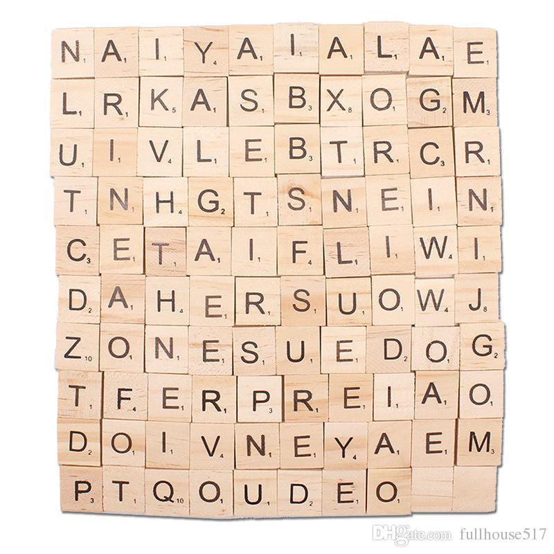 100PCS Crafts Holz Buchstaben aus Holz Alphabet Fliesen Schwarze Buchstaben Zahlen für Scrabble Kunst und Party-Geschenke Crafts
