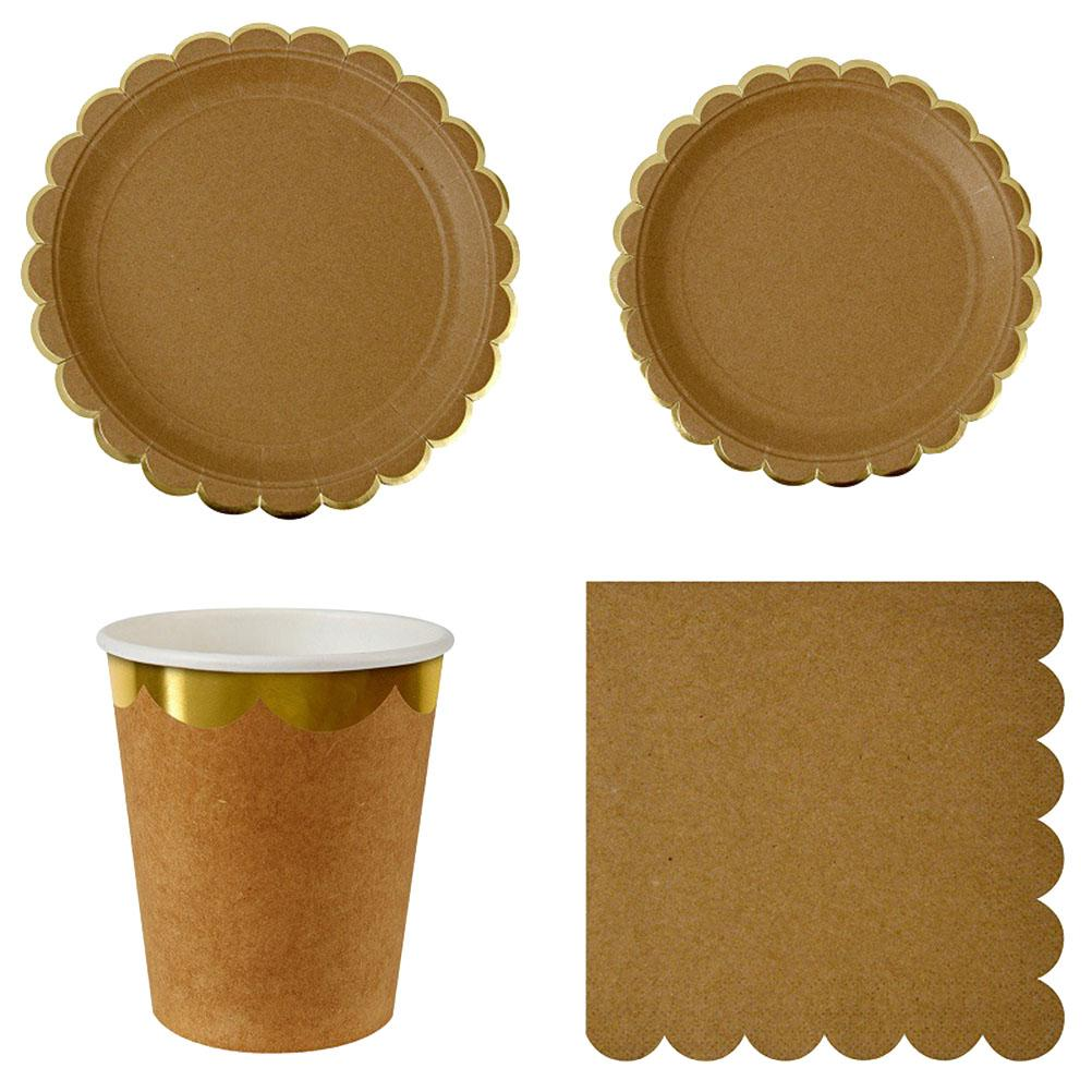 Disposable Tableware Stylish Retro Non-toxic Kraft Paper Dinner Supplies Plates Cups Napkins Set for Festival Party Carnival