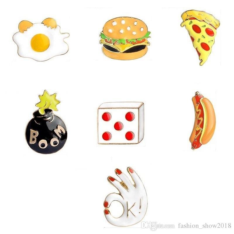 Продукты питания серии гамбургер хот-дог пицца Брошь Pins платье партии шляпа аксессуары броши Эмаль Рюкзак Тканевые украшения Значки для джинсы броши