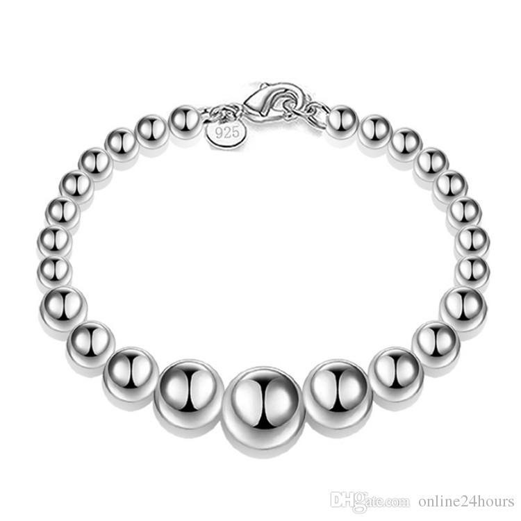Envío gratis S925 joyería plateada joyería Ahueca hacia fuera la pulsera fina pulsera de cuentas de moda al por mayor y al por menor