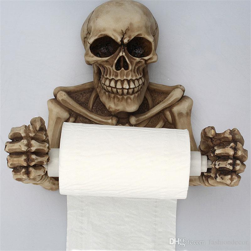 Toilettenpapierhalter Kreative Schädel Tissue Box Halter Wandhalterung Sanitärrolle Papier Lagerung Bad Organizer Toilettenpapier Rack