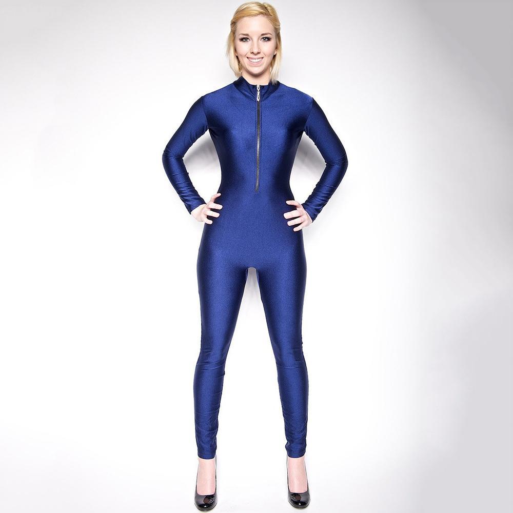 Adulte Lycra Spandex Unitard Bodysuit Full Body manches longues pour les femmes à col roulé Zentai avant Zipper Ballet Wear Latin Dance