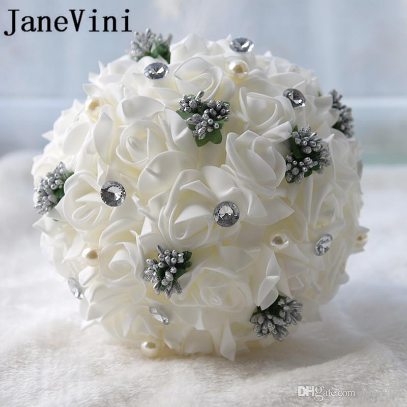 Bouquet Sposa Economici.Acquista Janevini Bianco Avorio Schiuma Rose Bouquet Da Sposa