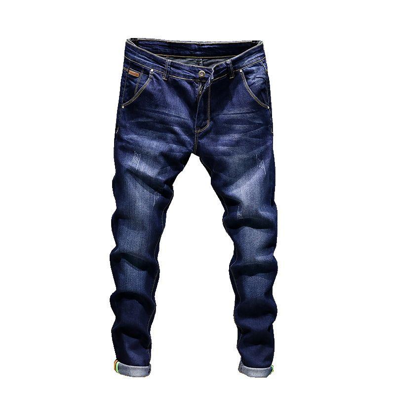 Moda Vaqueros ajustados pantalones elásticos hombres rectos delgados pantalones casuales para hombre del motorista masculino Stretch Denim pantalones clásicos