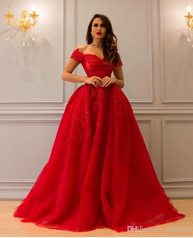 Compre Vestidos Rojos Noche Traje De Lujo Fuera Del Hombro Apliques De Encaje Bola De Cristal Con Cuentas Vestido De Fiesta Formal De Tul Vestidos De
