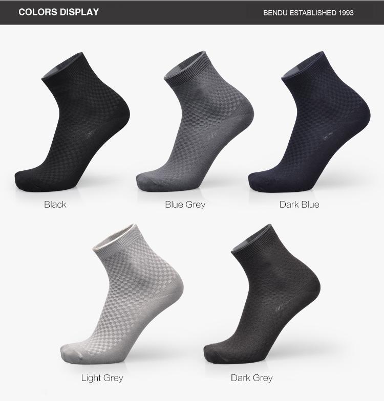 Marka Garantisi Erkekler Bambu Katı Çorap Standart Deodorant Nefes Rahat Anti-Bakteriyel Rahat Iş Adamı Çorap 5 çift / grup
