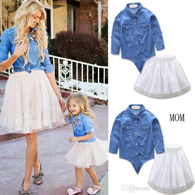 Mother And Daughter Clothes Mommy And Me Matching Family Outfits Women Girls Denim Blouse T Shirt + White Tutu Skirt 2PCS Sets Family Look