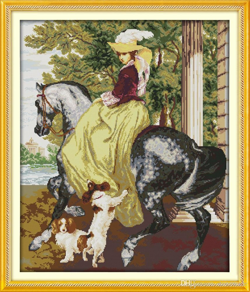Dama na koniu Dziewczyna Dog Dojownia Obrazy, Handmade Cross Stitch Hafty Robótki Zestawy zliczone na płótnie DMC 14CT / 11CT