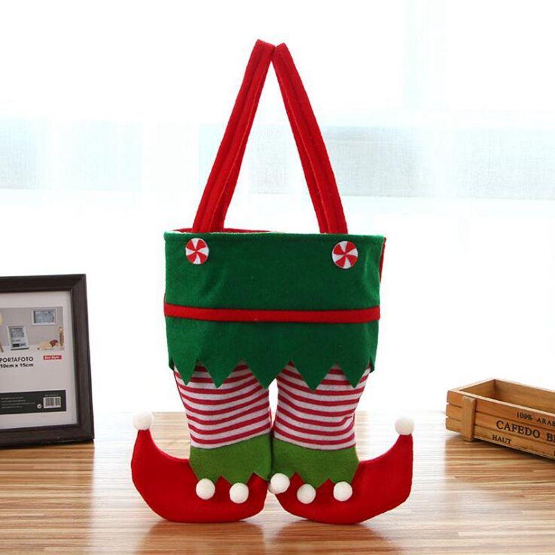 Нетканые ткани Рождество Эльф мешок новый мешок конфет Санта мешок подарка дети X-mas украшения партии украшение подарок