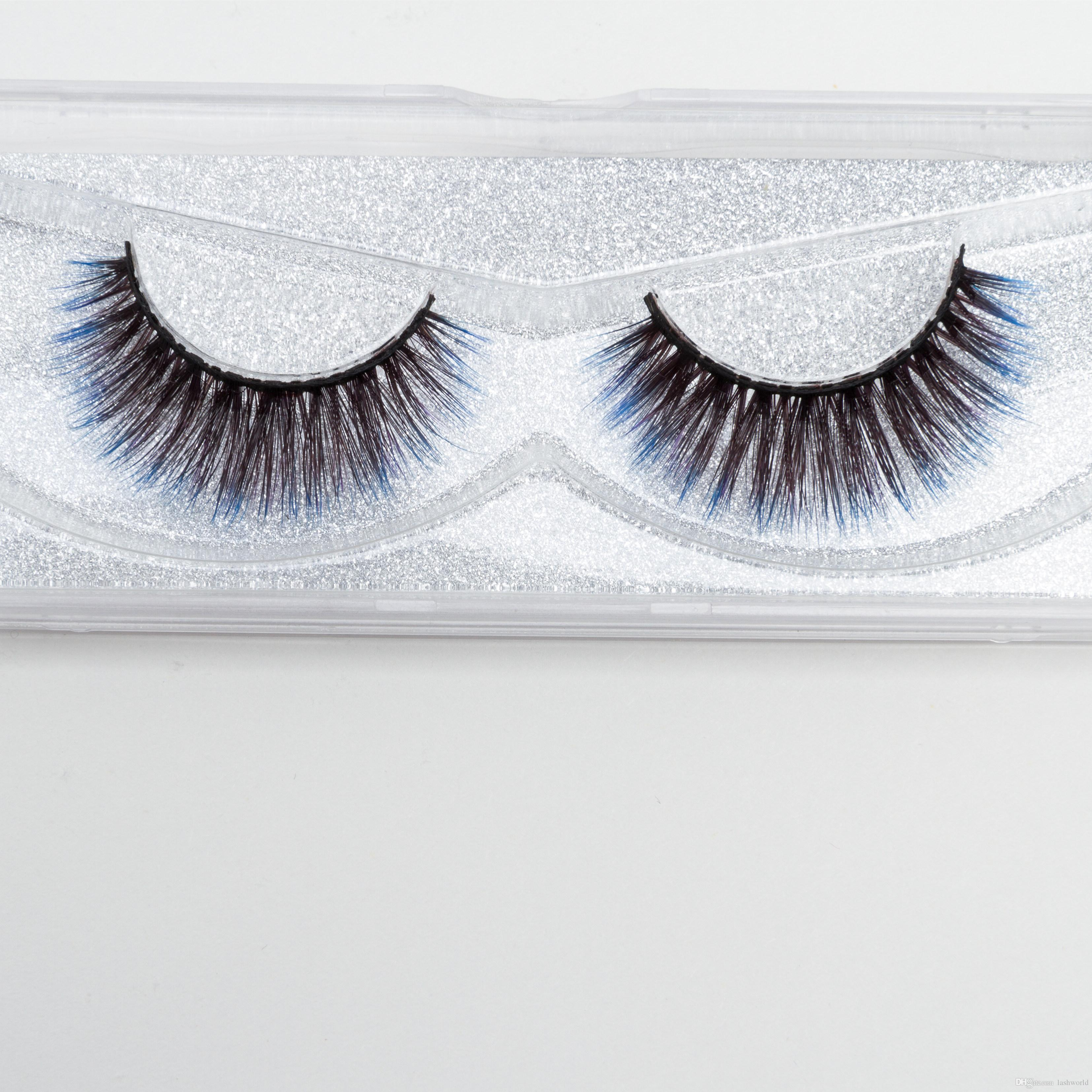 Venta directa de la fábrica de Seashine 3d seda sintética Natural look pestañas azules pestañas coloridas envío gratis C11